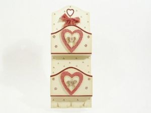 Shabby Chic Red Gingham Hearts Letter Rack